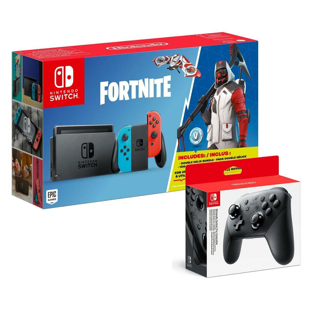 nintendo switch konsolen bundle set neon fortnite pro. Black Bedroom Furniture Sets. Home Design Ideas